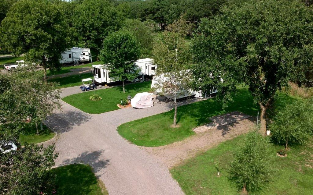 Pristine Resident Camper Aerial Campsite View